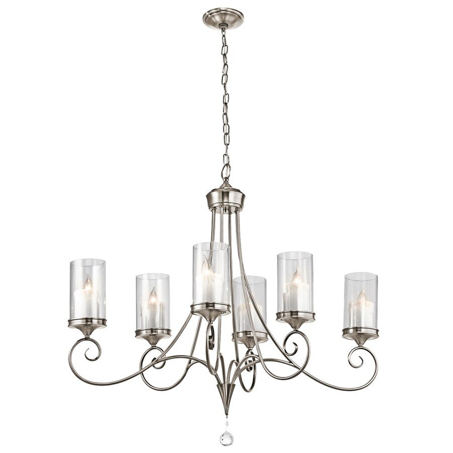 Kichler Laurel 18-in 6-Light Classic Pewter Vintage Clear Glass Candle Chandelier