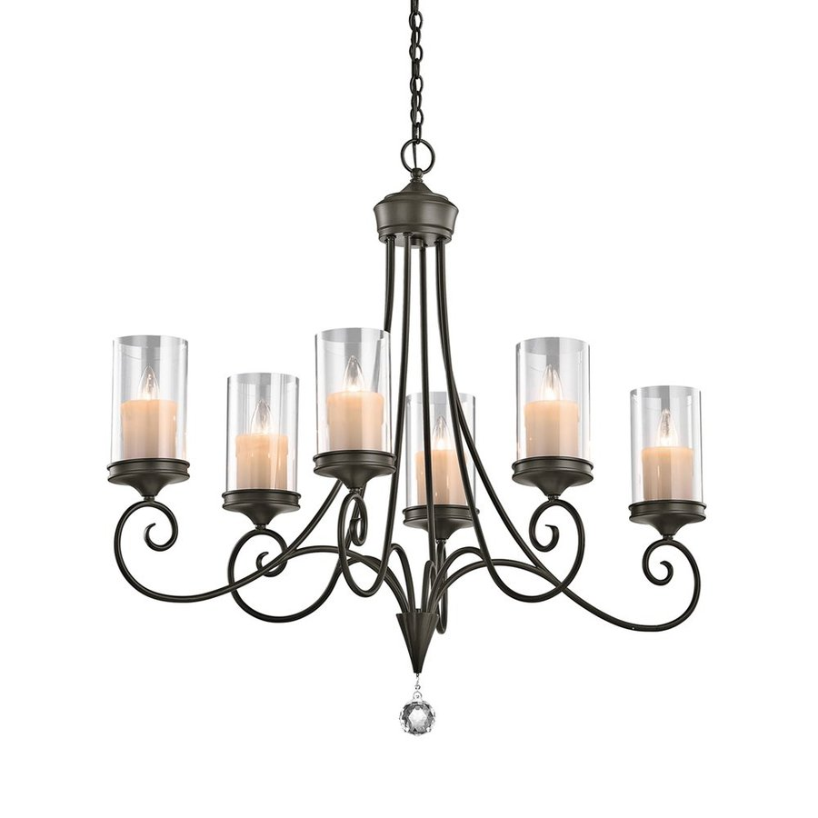 Kichler Lighting Laurel 18-in 6-Light Shadow Bronze Vintage Clear Glass Candle Chandelier