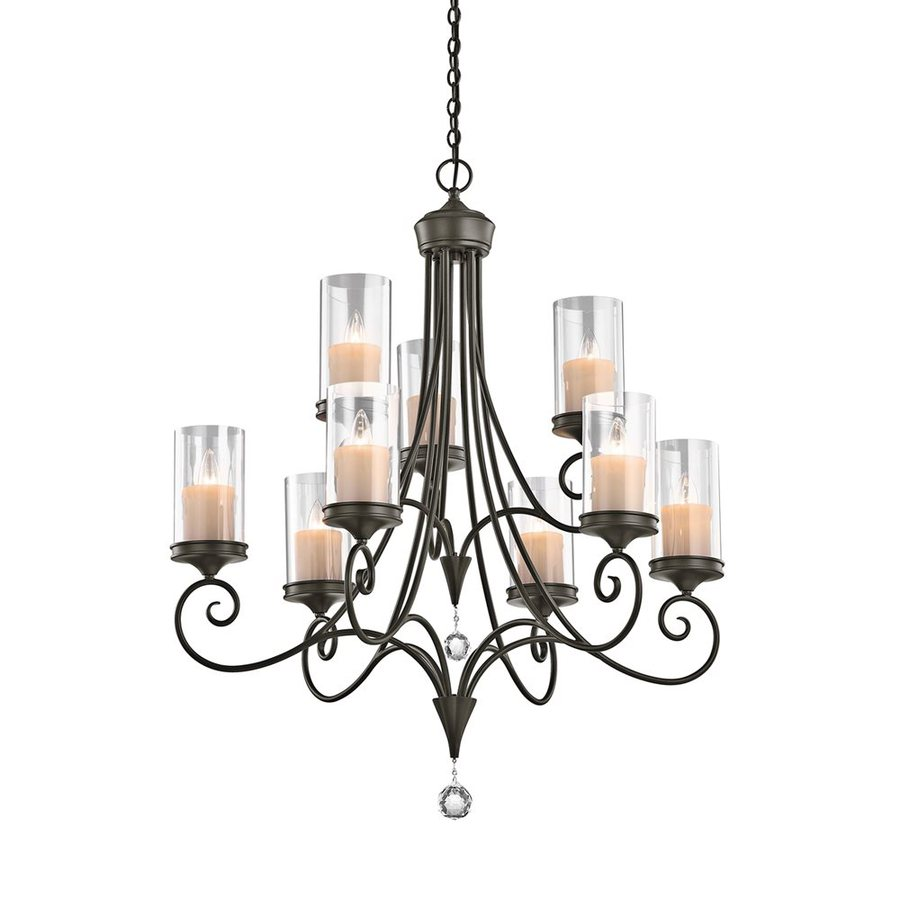 Kichler Laurel 32-in 9-Light Shadow Bronze Vintage Clear Glass Tiered Chandelier