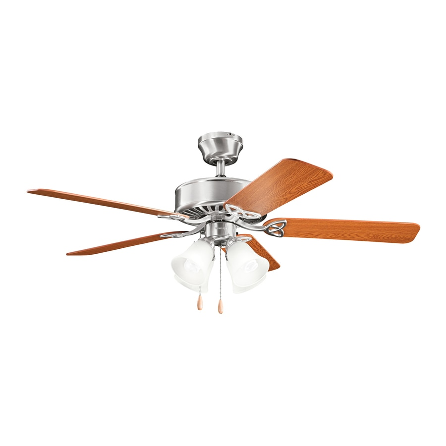 Kichler Renew Premier 50-in Brushed stainless steel Indoor Downrod Or Close Mount Ceiling Fan with Light Kit
