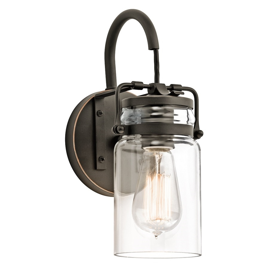 Shop Kichler Brinley 1-Light 11.5-in Olde Bronze Jar Vanity Light at Lowes.com