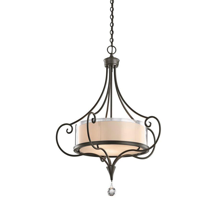 Kichler Lighting Laurel 25-in Shadow Bronze Vintage Single Clear Glass Drum Pendant