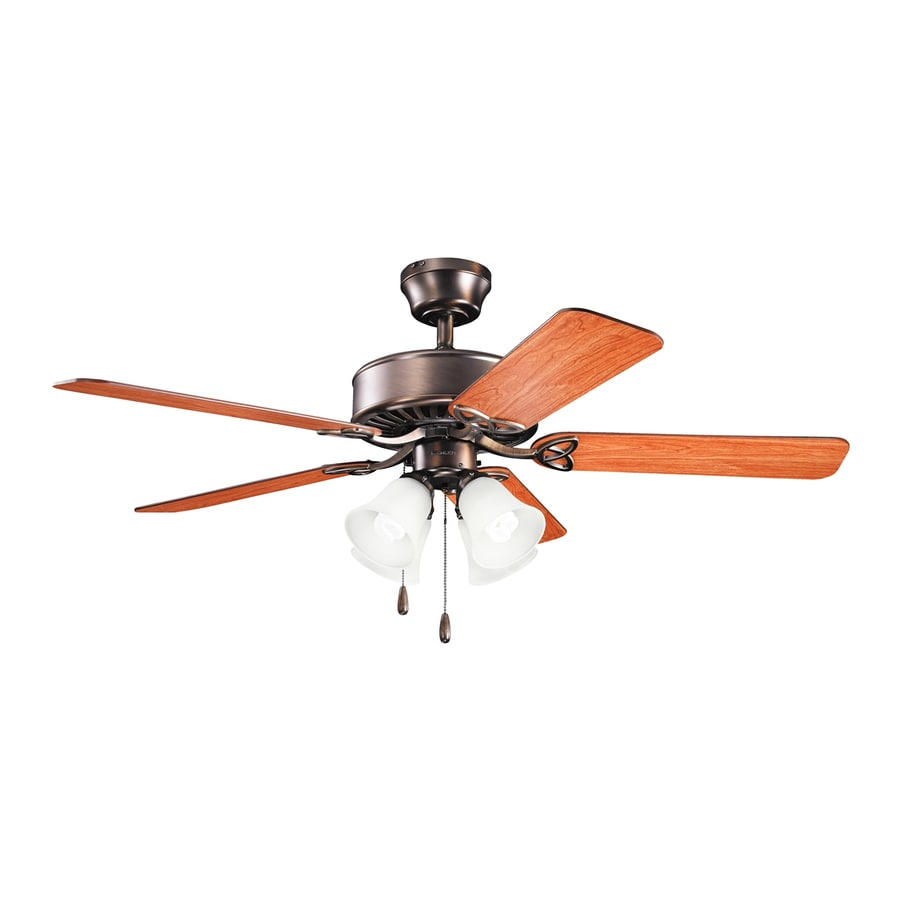 Kichler Renew Premier 50-in Oil Brushed Bronze Downrod or Close Mount Indoor Residential Ceiling Fan with Light Kit (5-Blade)