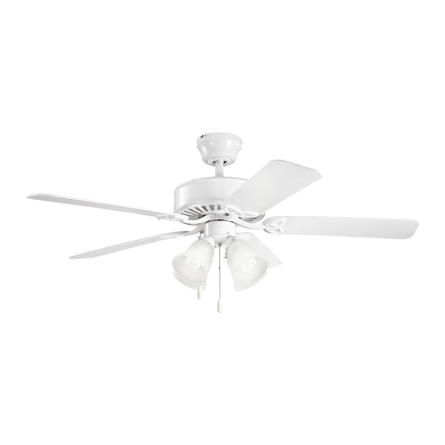 Kichler Lighting Renew Premier 50-in White Downrod or Close Mount Indoor Ceiling Fan with Light Kit (5-Blade)