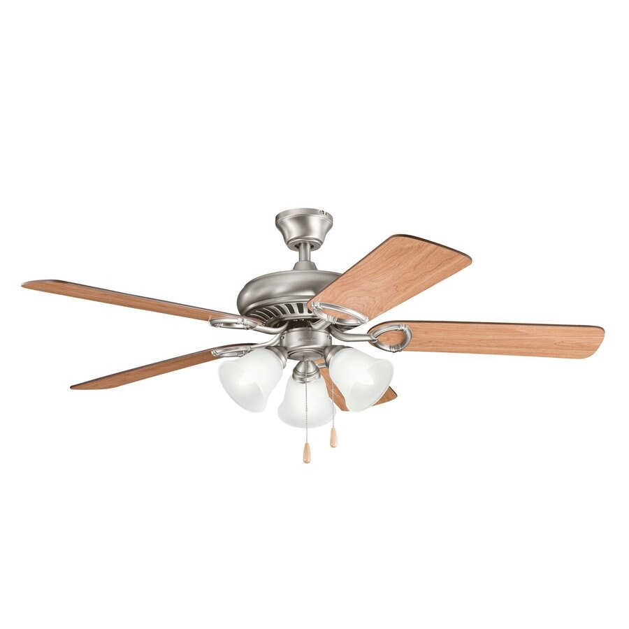 Kichler Sutter Place Premier 52-in Antique pewter Indoor Downrod Or Close Mount Ceiling Fan with Light Kit