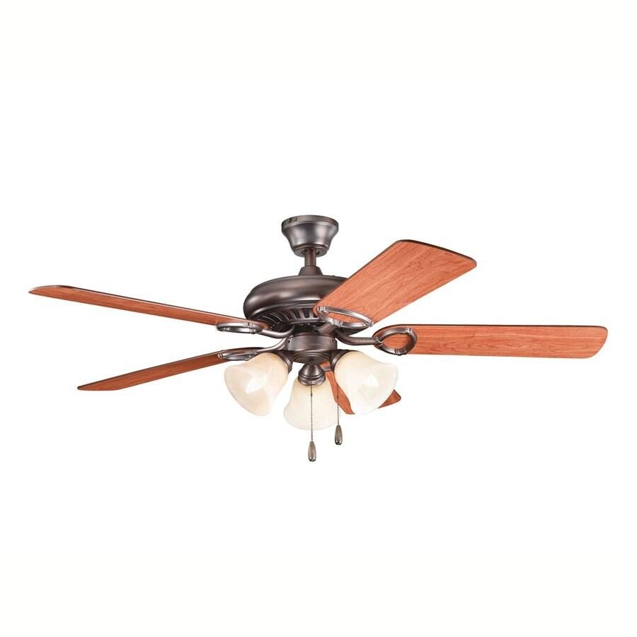 Kichler Lighting Sutter Place Premier 52-in Oil Brushed Bronze Downrod or Close Mount Indoor Ceiling Fan with Light Kit (5-Blade)