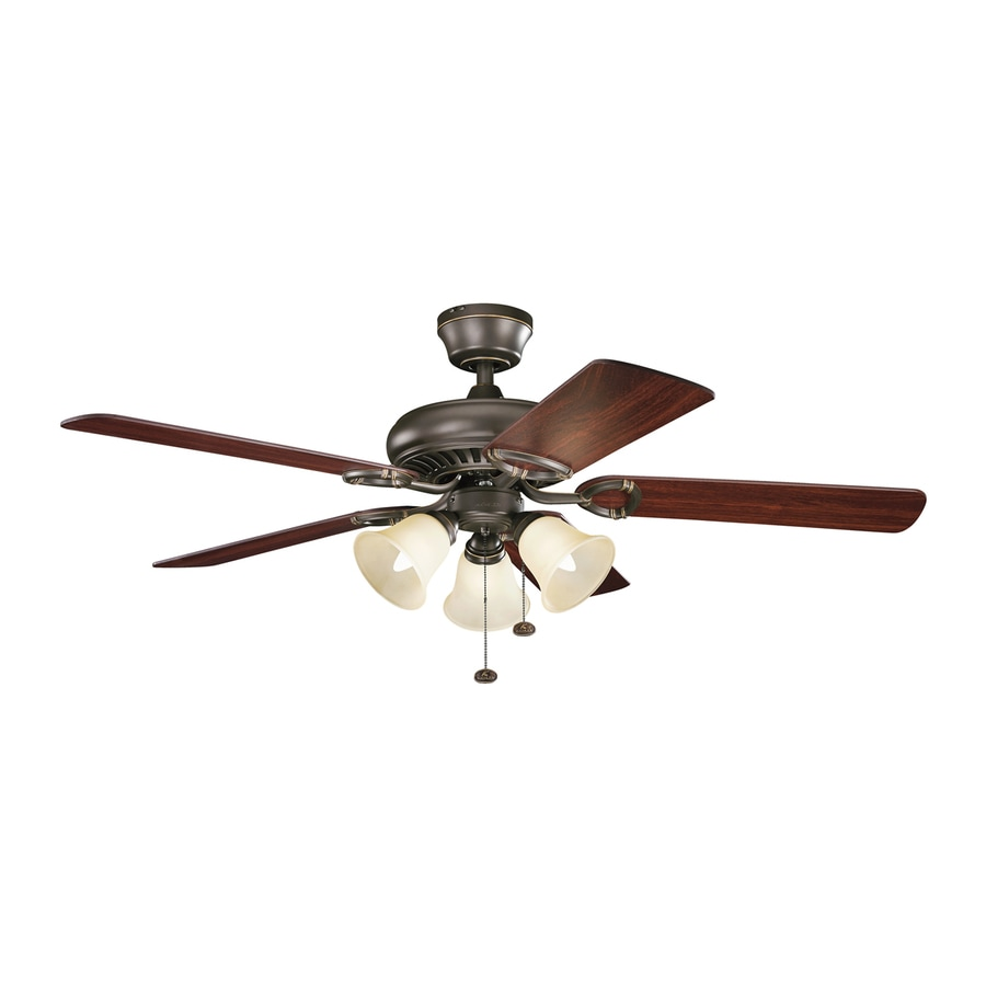 Kichler Sutter Place Premier 52-in Olde Bronze Downrod or Close Mount Indoor Residential Ceiling Fan with Light Kit (5-Blade)