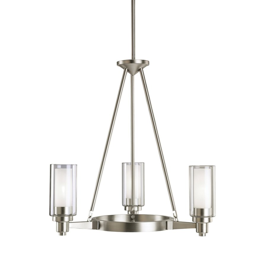 Kichler Circolo 22-in 3-Light Brushed Nickel Clear Glass Shaded Chandelier