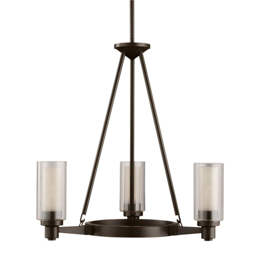 Kichler Circolo 22-in 3-Light Olde Bronze Clear Glass Shaded Chandelier