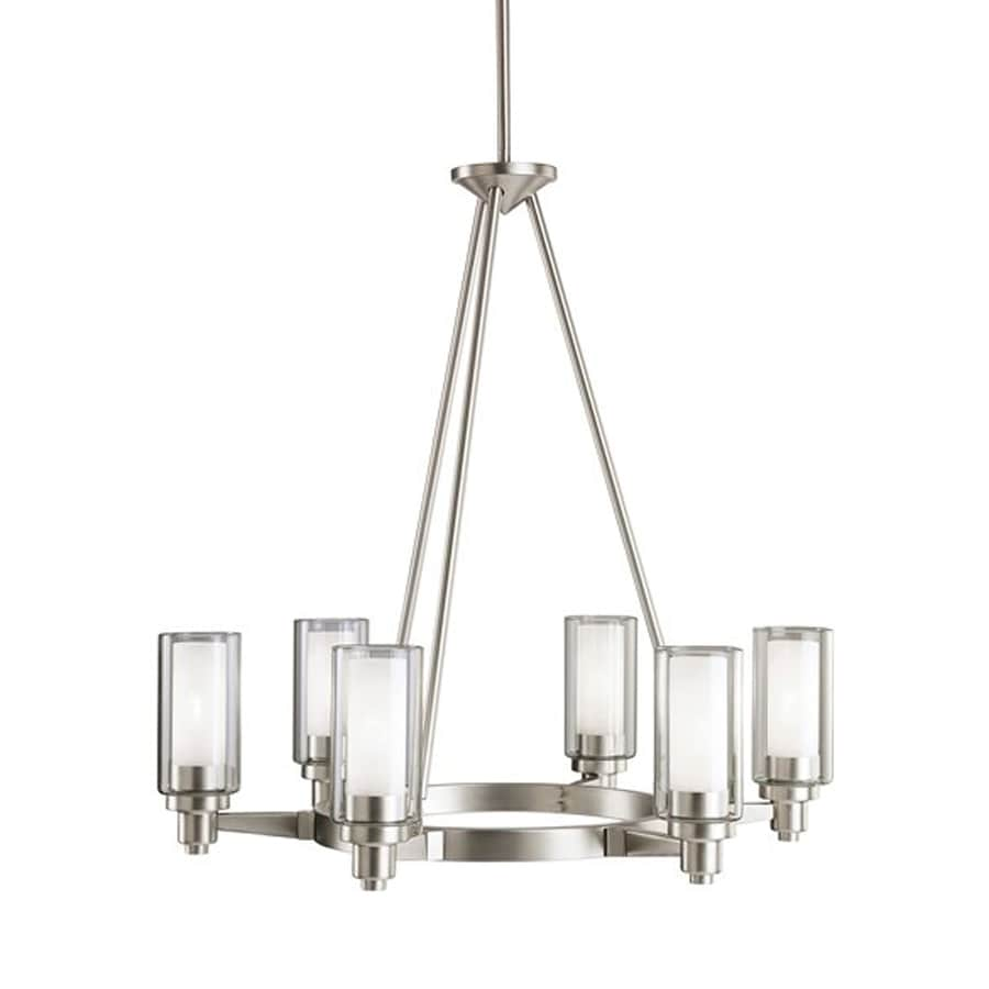 Kichler Circolo 26-in 6-Light Brushed nickel Clear Glass Shaded Chandelier