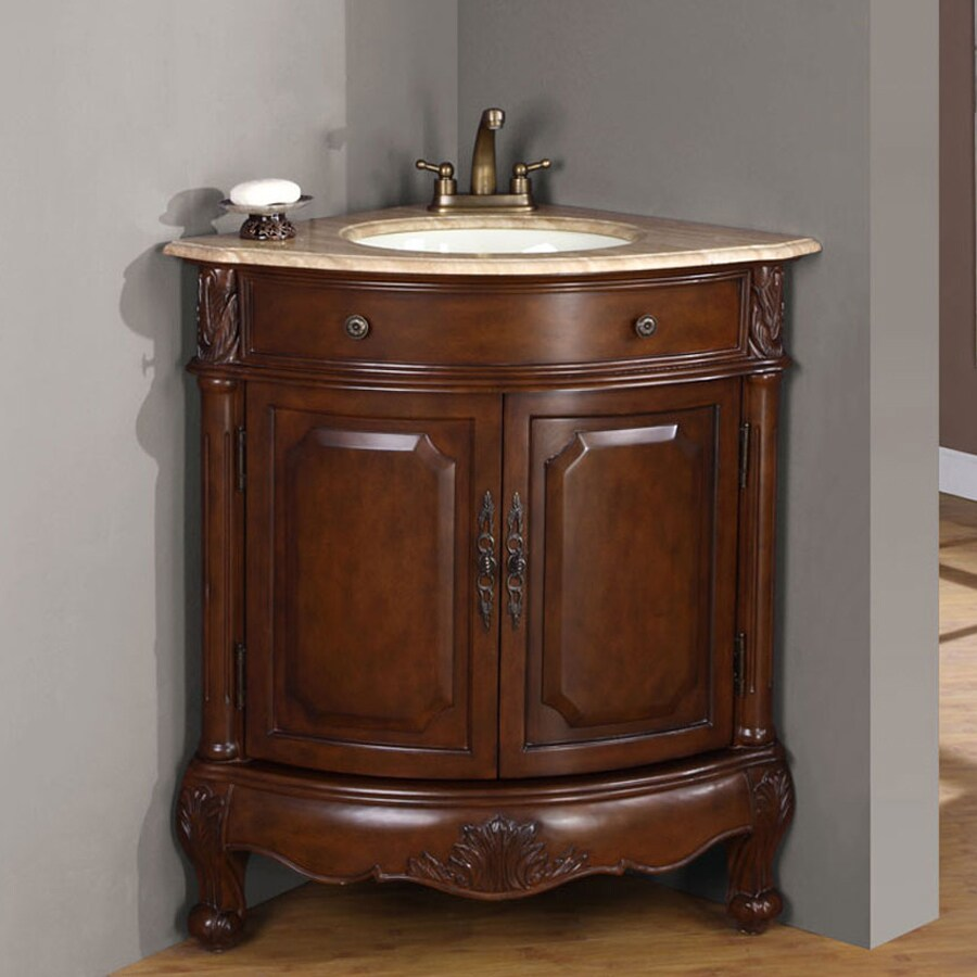 Shop silkroad exclusive hannah cherrywood vanity with travertine travertine top common 32 in x Stores to buy bathroom vanities