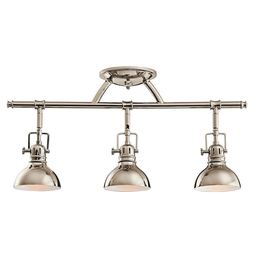 Bathroom Light Fixtures Ceiling shop kichler hatteras bay 3-light 22.75-in polished nickel fixed