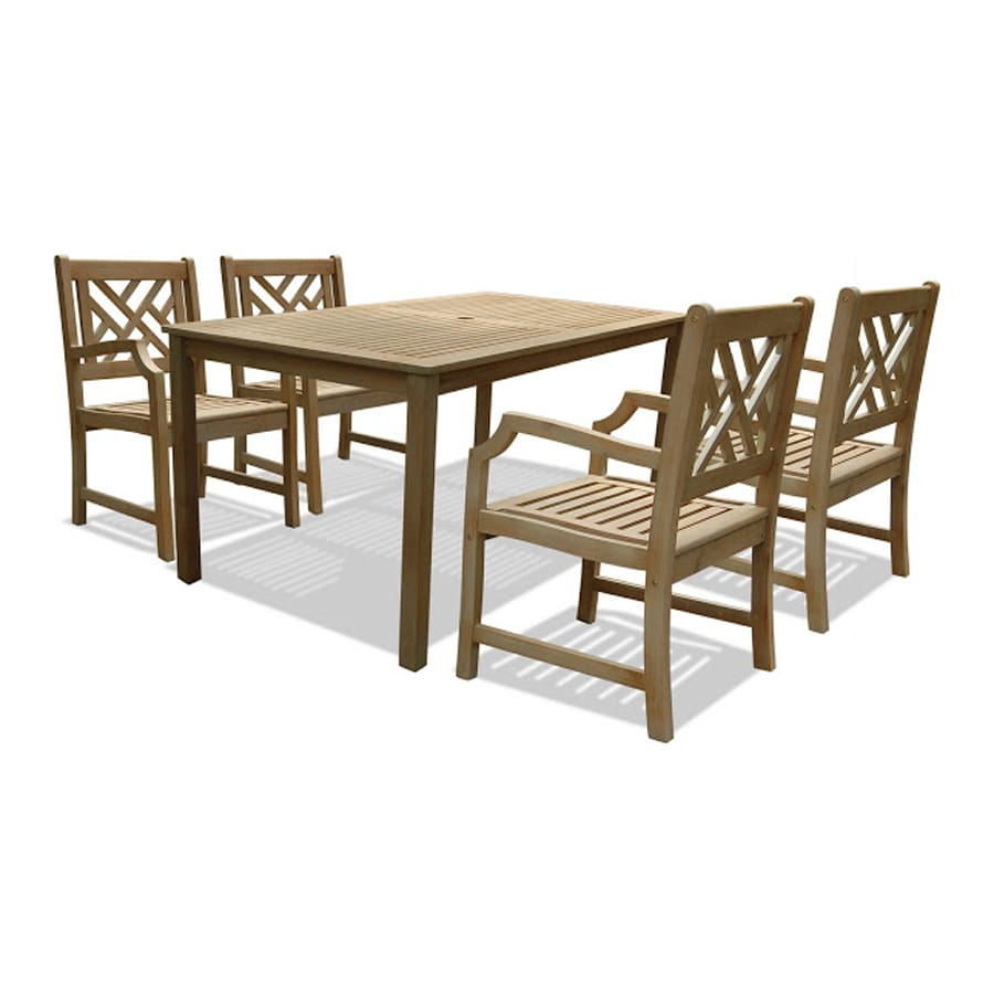 VIFAH Renaissance 5-Piece Natural Acacia Patio Dining Set