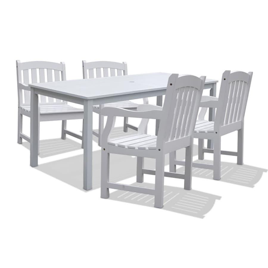 VIFAH Bradley 5-Piece White Acacia Patio Dining Set