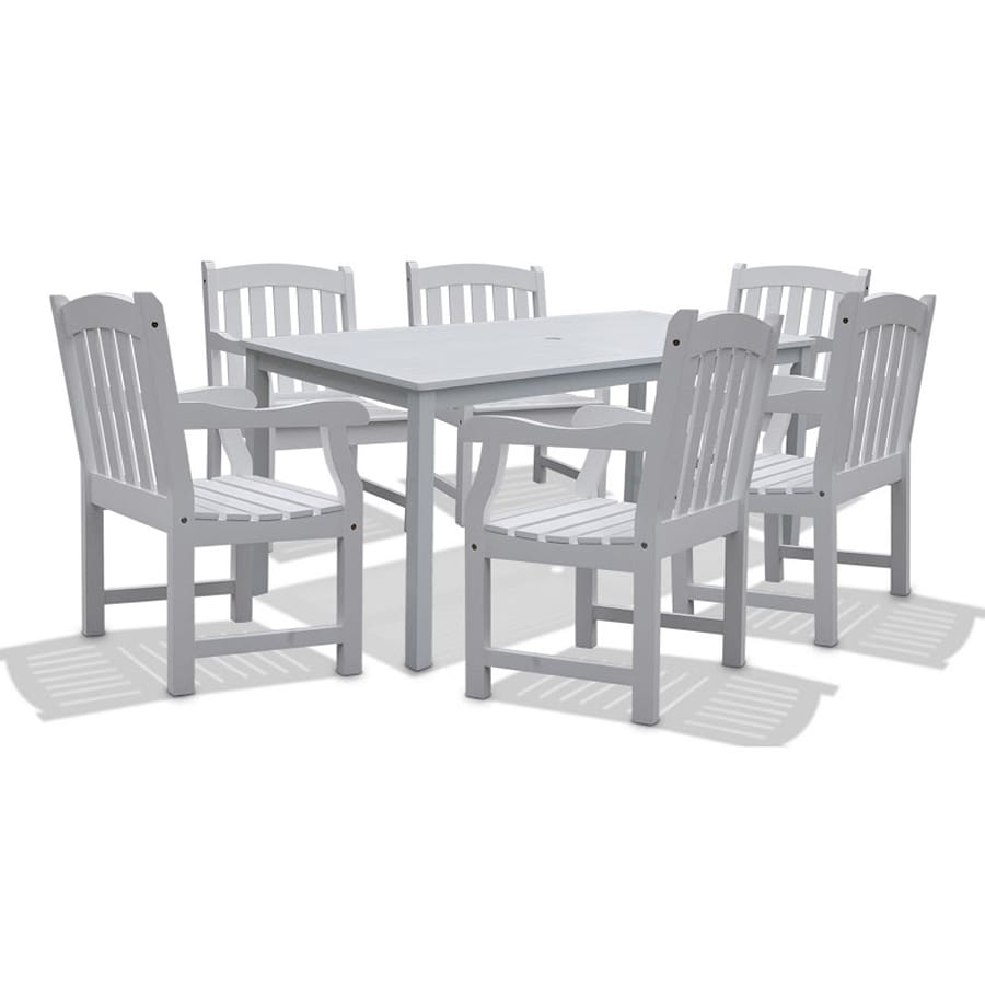 VIFAH Bradley 7-Piece White Acacia Patio Dining Set