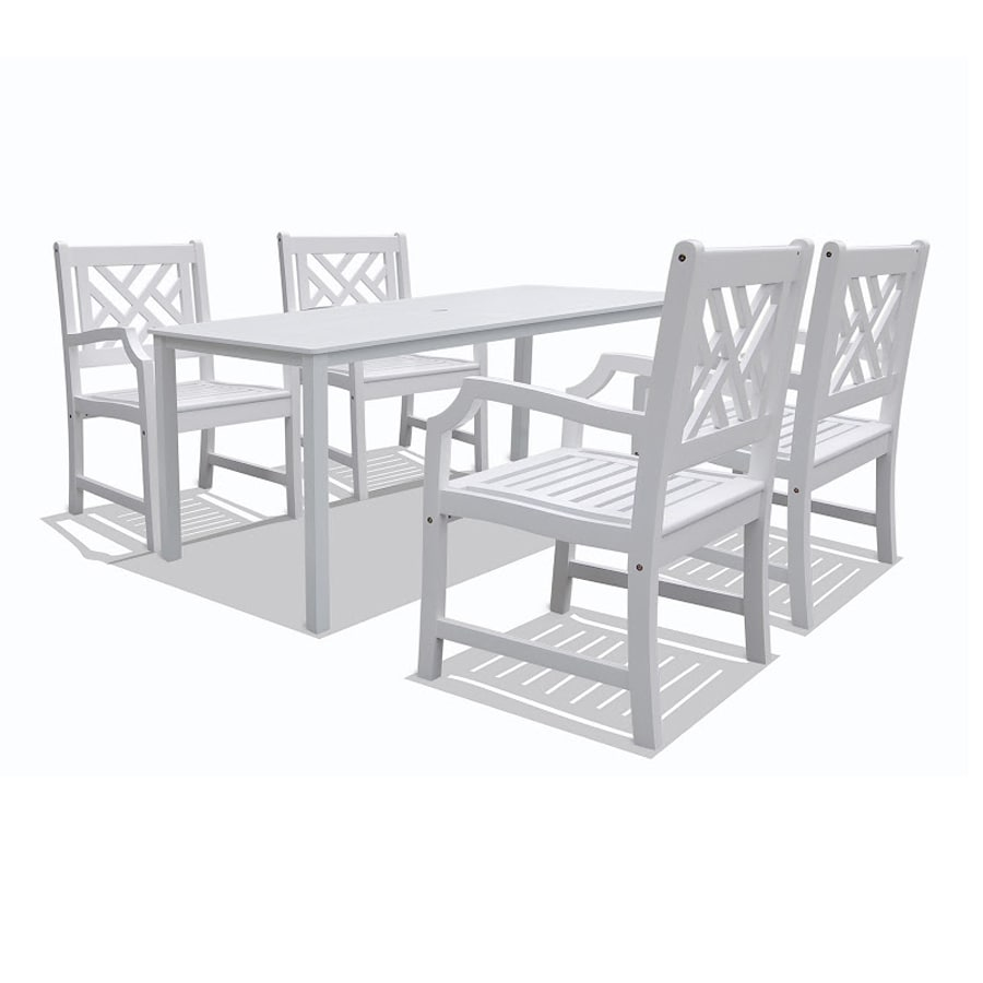 VIFAH Bradley 5-Piece White Acacia Patio Dining Set
