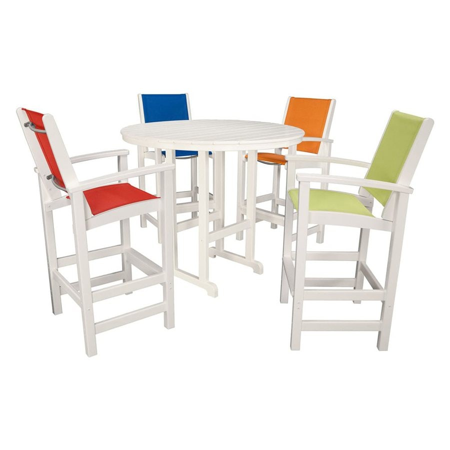 Hanover Outdoor Furniture Nassau 5 Piece White Plastic Frame Patio Dining  Set With Multicolored