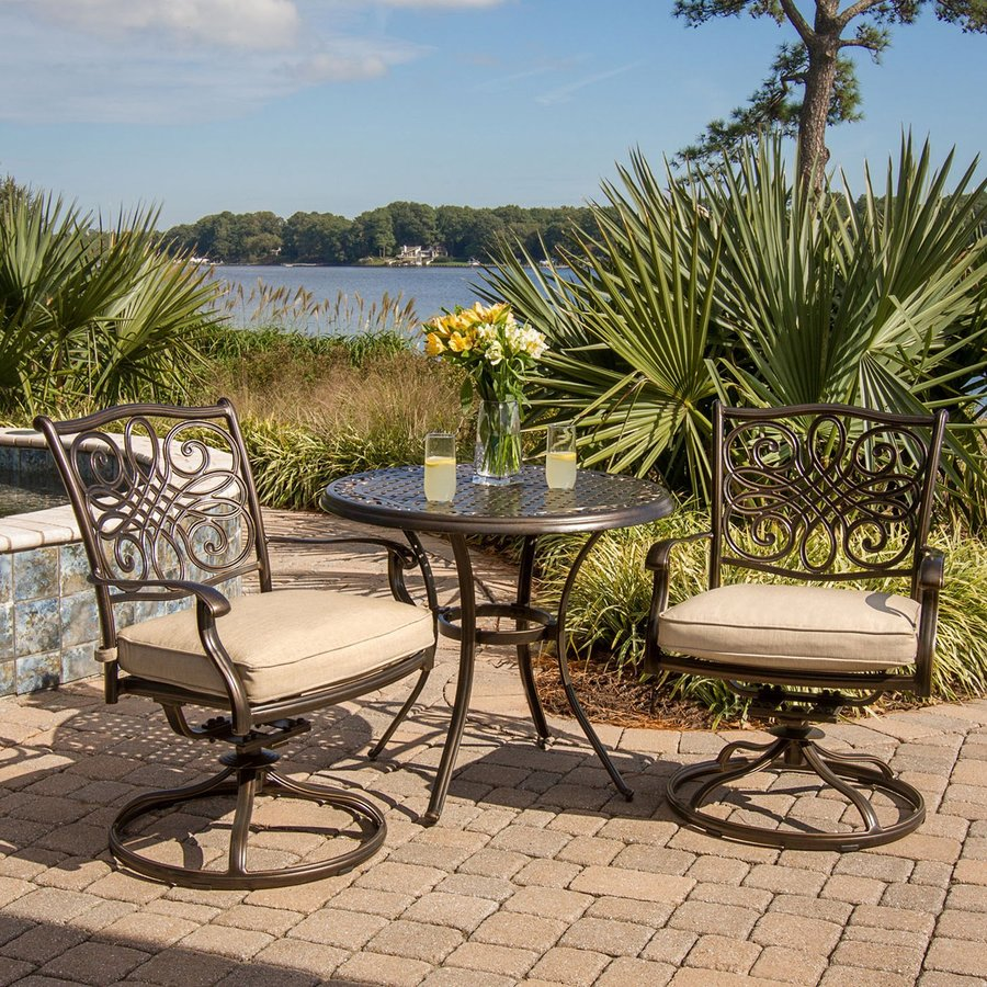 outdoor furniture traditions 3 piece bronze aluminum patio dining set