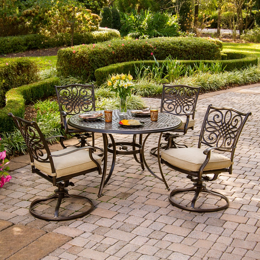 Shop hanover outdoor furniture traditions 5 piece bronze for Patio dining sets with bench seating