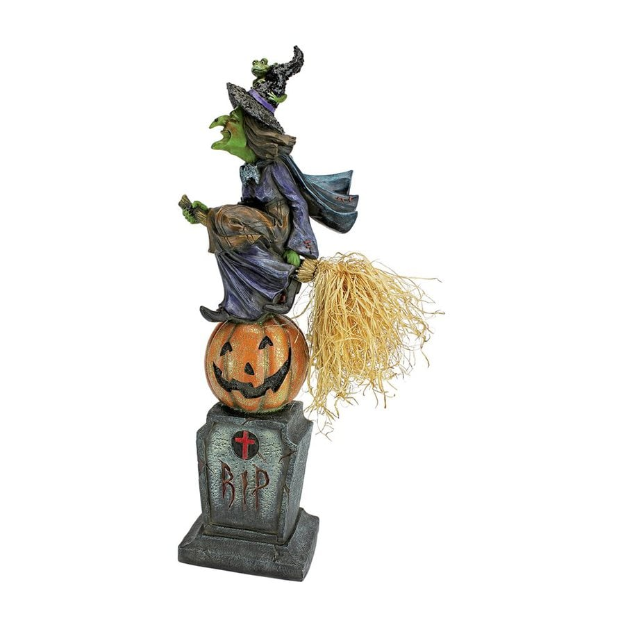 Design Toscano The Witch's Midnight Halloween Ride Freestanding Statue