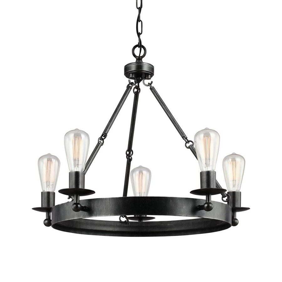 Sea Gull Lighting Ravenwood Manor 25-in 5-Light Stardust Industrial Candle Chandelier