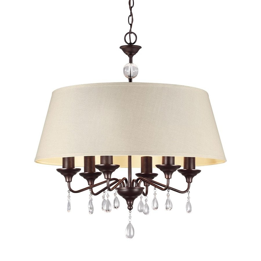 Sea Gull Lighting West Town 28-in 6-Light Burnt Sienna Vintage Drum Chandelier