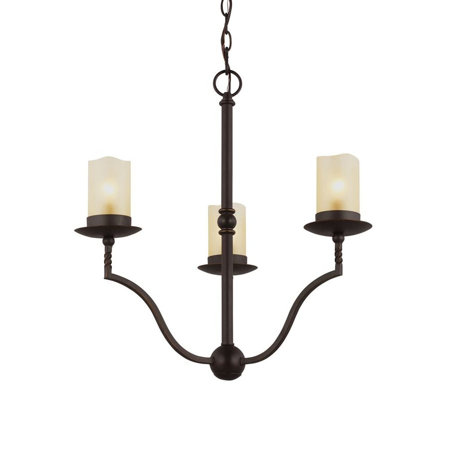 Sea Gull Lighting Trempealeau 21.25-in 3-Light Roman Bronze Mediterranean Seeded Glass Shaded Chandelier
