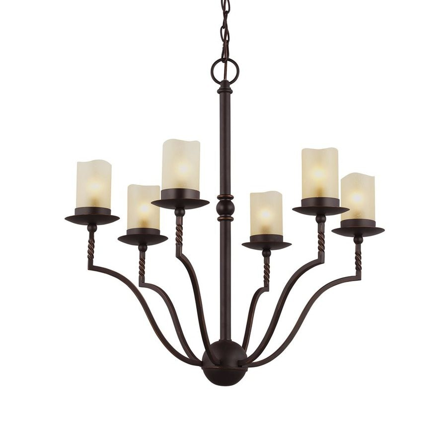 Sea Gull Lighting Trempealeau 21.25-in 6-Light Roman Bronze Mediterranean Seeded Glass Shaded Chandelier