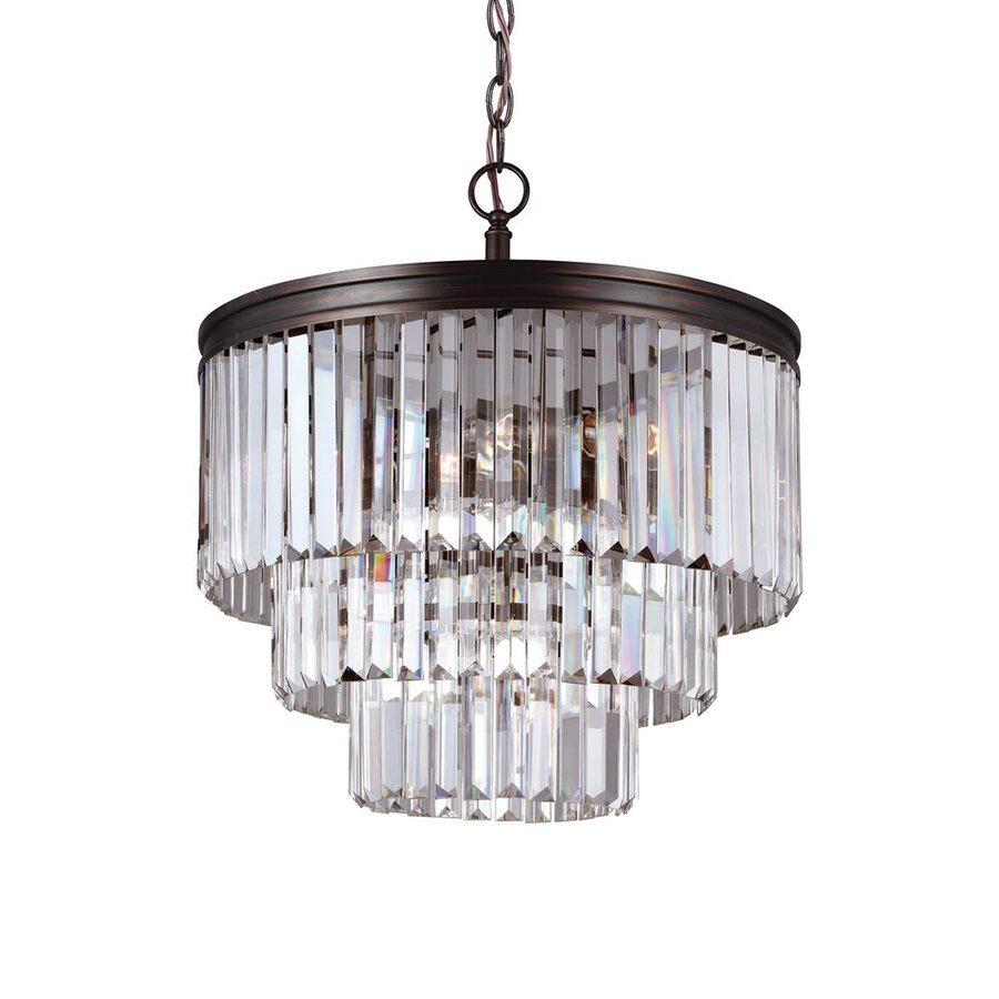 Sea Gull Lighting Carondelet 18.188-in 4-Light Burnt Sienna Crystal Clear Glass Waterfall Chandelier