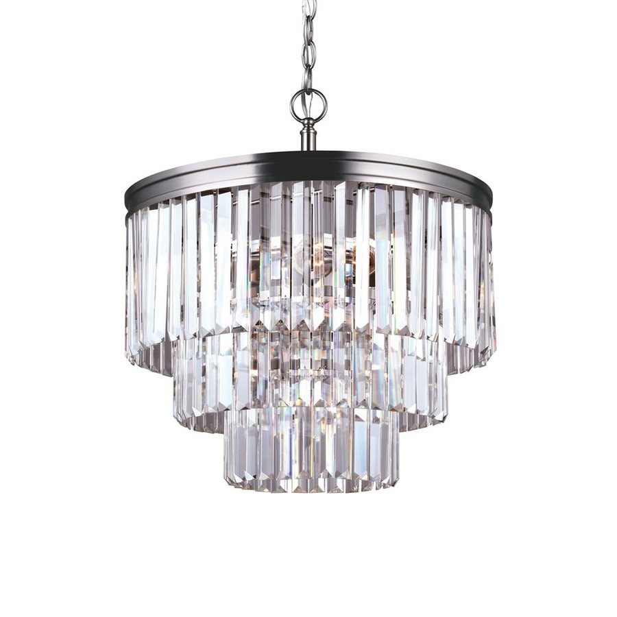 Sea Gull Lighting Carondelet 18.188-in 4-Light Antique Brushed Nickel Crystal Clear Glass Waterfall Chandelier