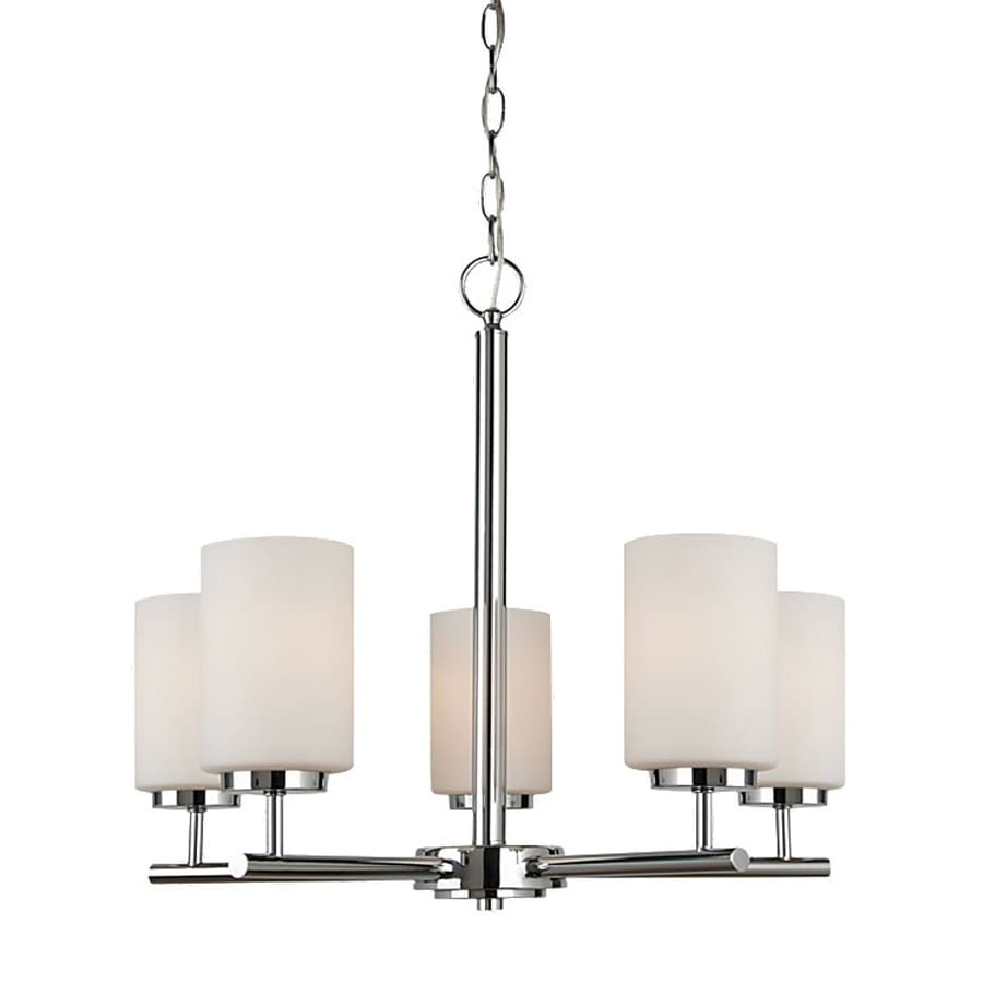 Sea Gull Lighting Oslo 24-in 5-Light Chrome Etched Glass Shaded Chandelier