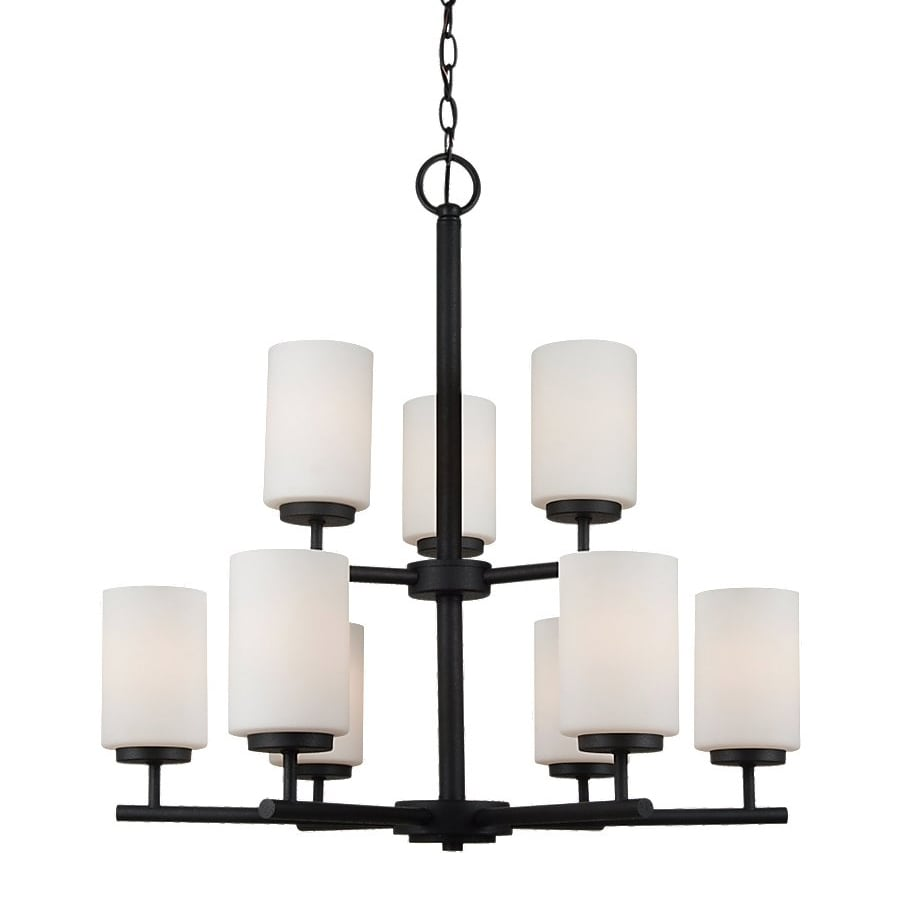 Sea Gull Lighting Oslo 26-in 9-Light Blacksmith Etched Glass Tiered Chandelier