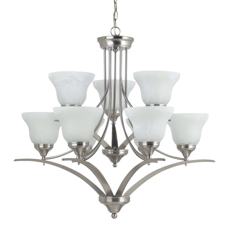 Sea Gull Lighting Brockton 33-in 9-Light Brushed Nickel Etched Glass Tiered Chandelier