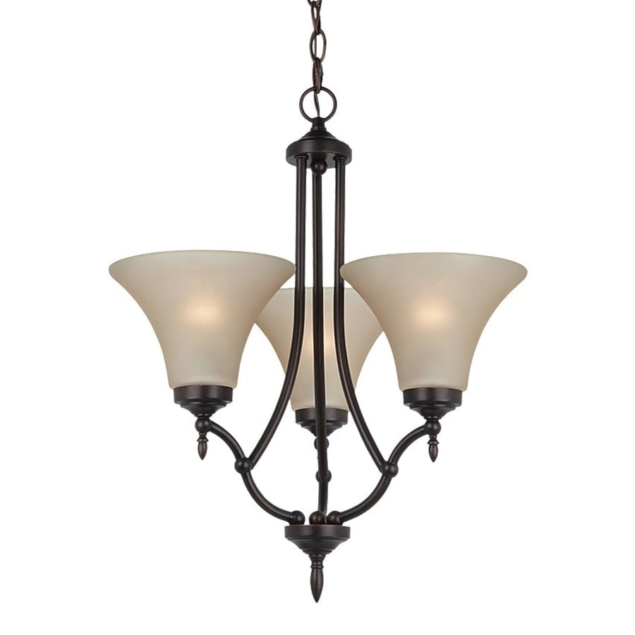 Sea Gull Lighting Montreal 18.4-in 3-Light Burnt Sienna Tinted Glass Shaded Chandelier
