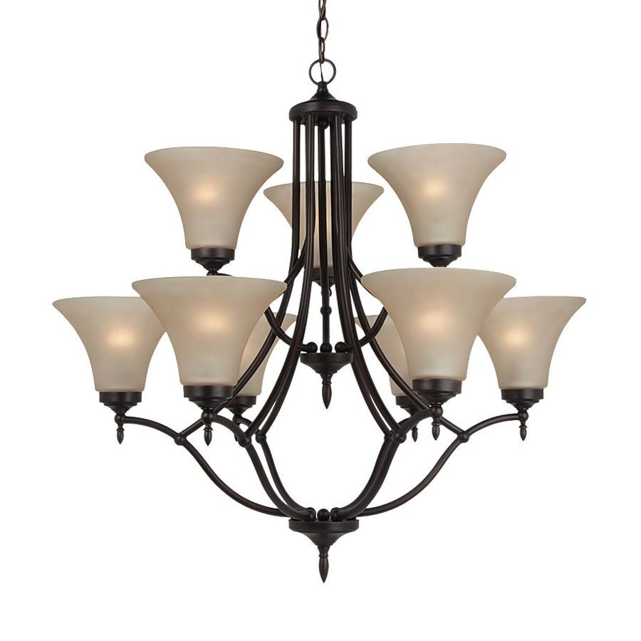Sea Gull Lighting Montreal 30.375-in 9-Light Burnt Sienna Tinted Glass Tiered Chandelier