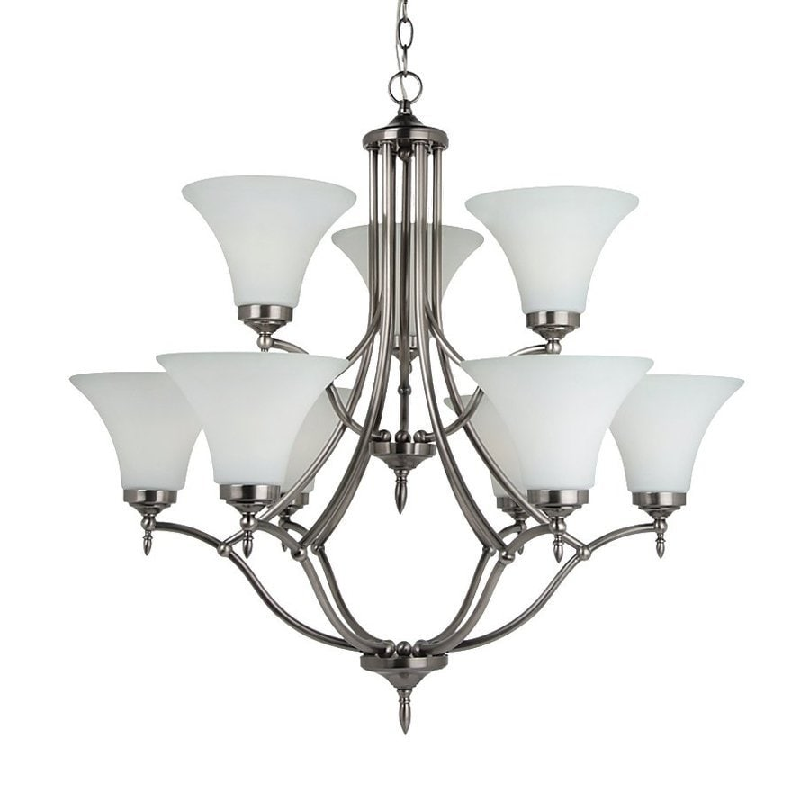 Sea Gull Lighting Montreal 30.375-in 9-Light Antique Brushed Nickel Etched Glass Tiered Chandelier