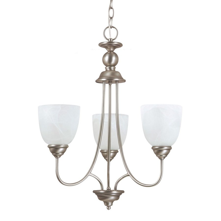 Sea Gull Lighting Lemont 20-in 3-Light Antique Brushed Nickel Vintage Etched Glass Shaded Chandelier