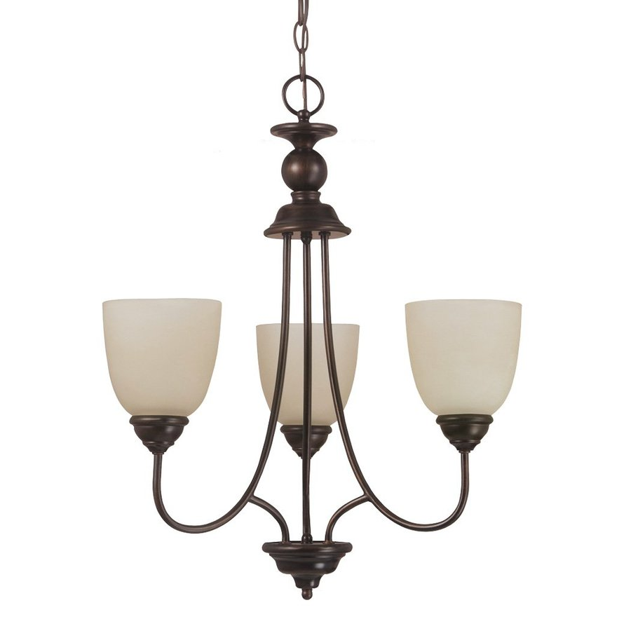 Sea Gull Lighting Lemont 20-in 3-Light Burnt Sienna Vintage Tinted Glass Shaded Chandelier