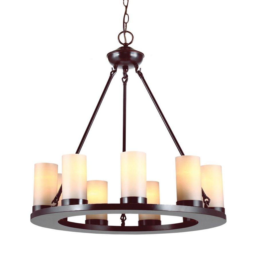 Sea Gull Lighting Ellington 27-in 9-Light Burnt Sienna Rustic Tinted Glass Candle Chandelier