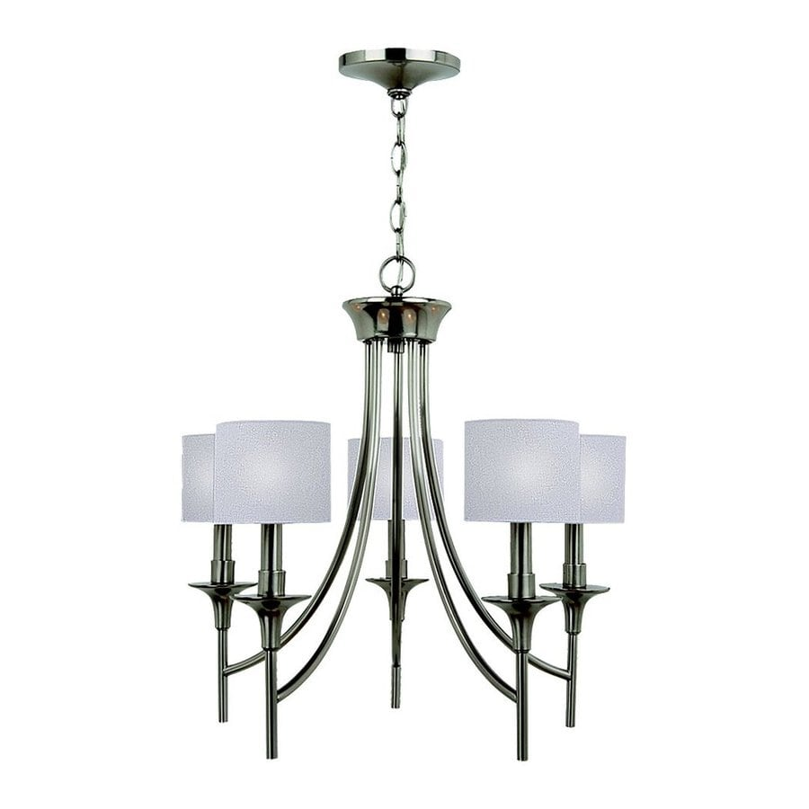 Sea Gull Lighting Stirling 22.5-in 5-Light Brushed Nickel Shaded Chandelier