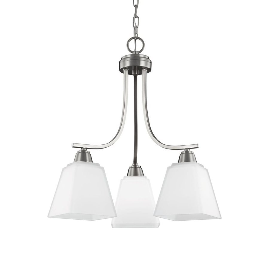 Sea Gull Lighting Parkfield 18.375-in 3-Light Brushed nickel Etched Glass Shaded Chandelier