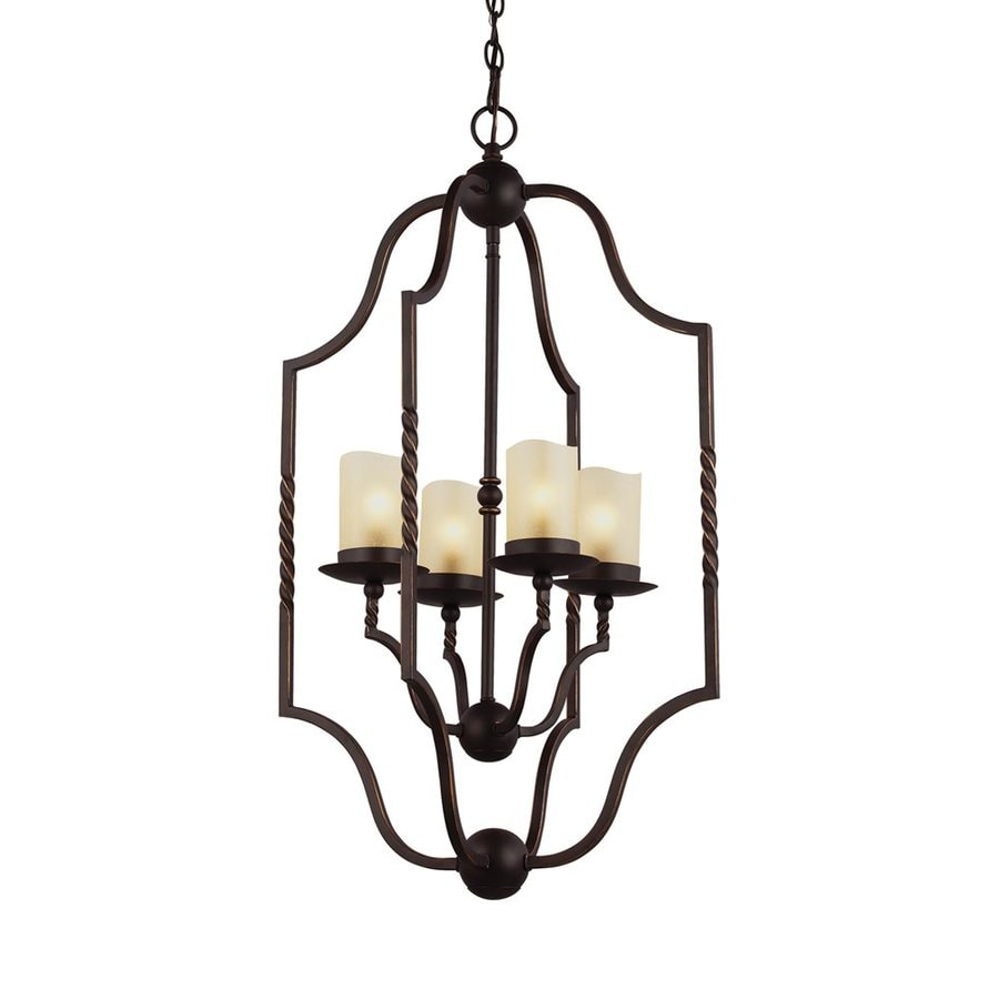 Sea Gull Lighting Trempealeau 18-in 4-Light Roman Bronze Rustic Seeded Glass Cage Chandelier