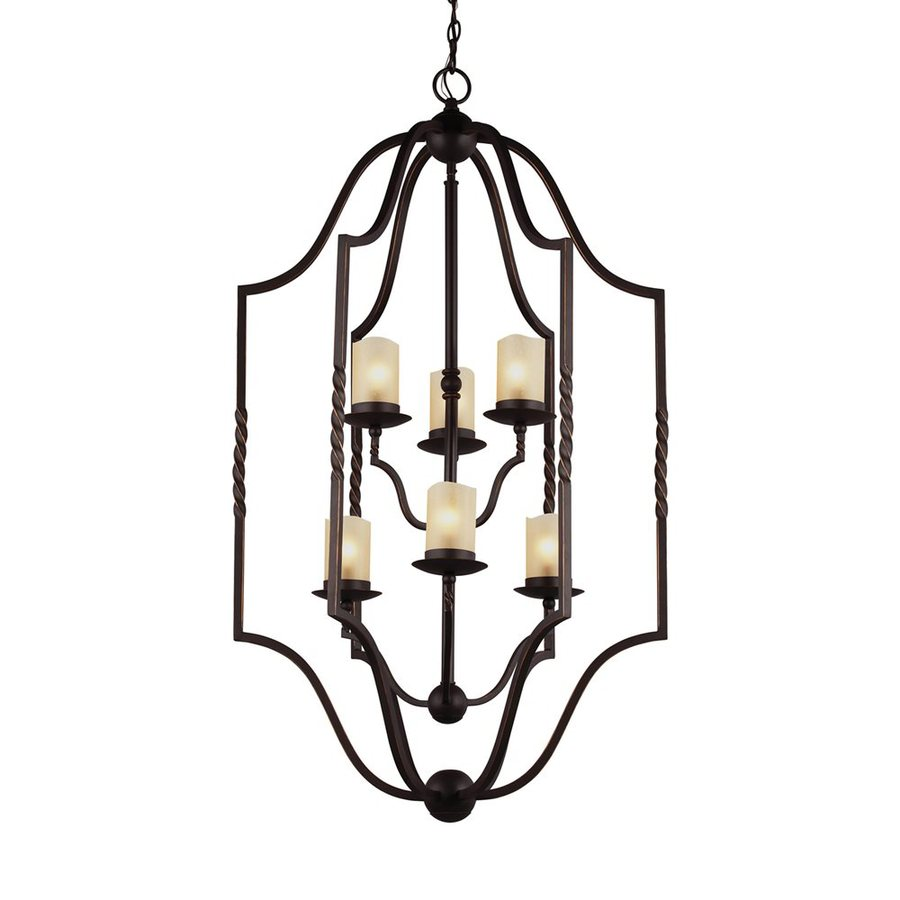 Sea Gull Lighting Trempealeau 25.5-in 6-Light Roman Bronze Rustic Seeded Glass Cage Chandelier