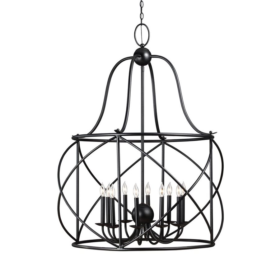 Sea Gull Lighting Turbinio 37-in 10-Light Blacksmith Wrought Iron Cage Chandelier