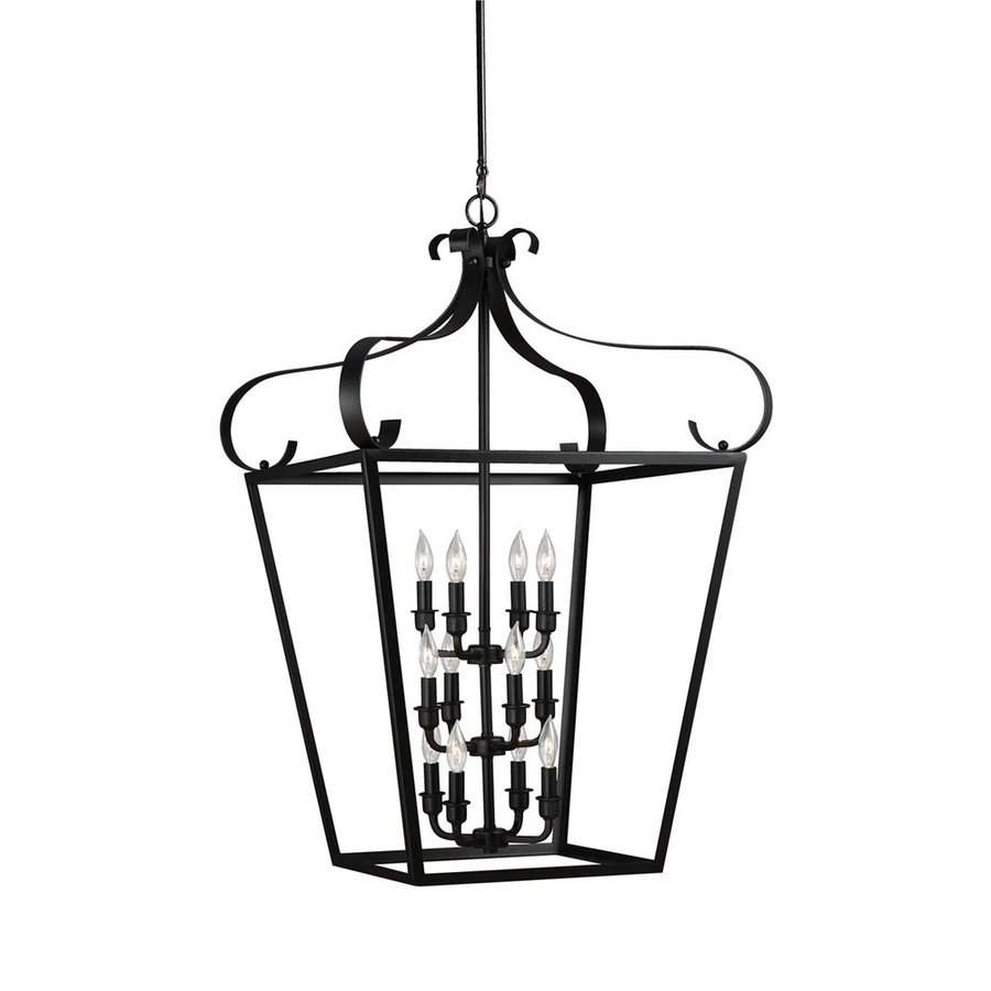 Sea Gull Lighting Lockheart 25-in 12-Light Blacksmith Wrought Iron Cage Chandelier