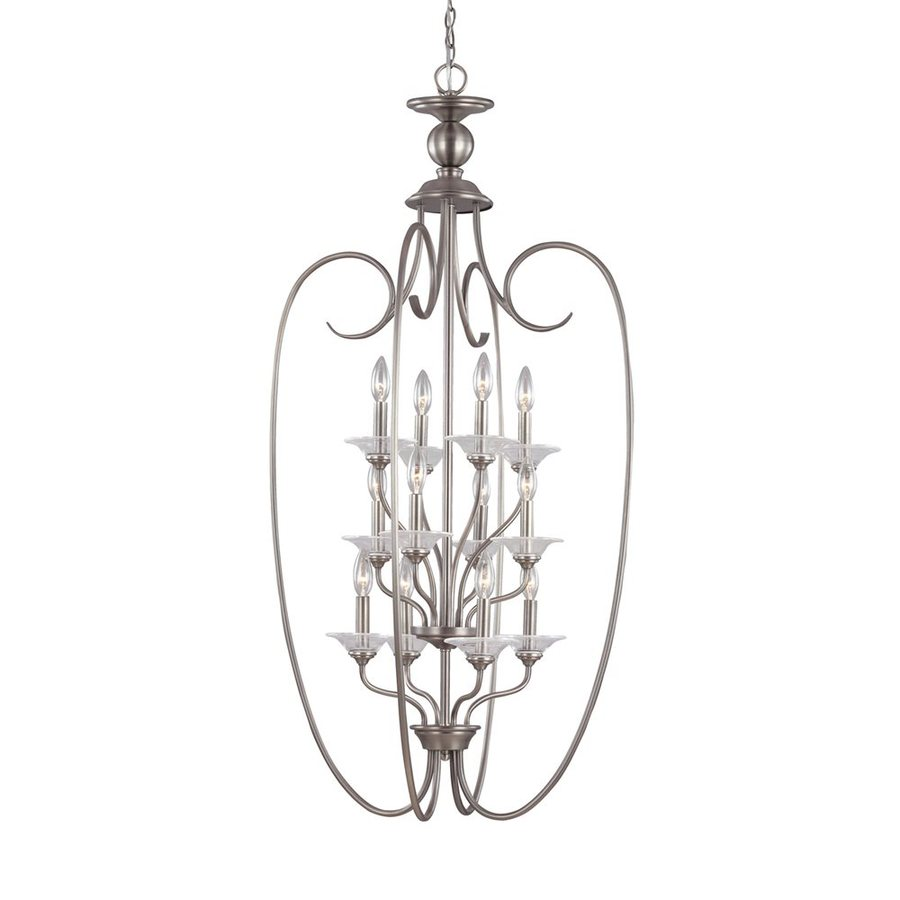 Sea Gull Lighting Lemont 25-in 12-Light Antique Brushed Nickel Cage Chandelier