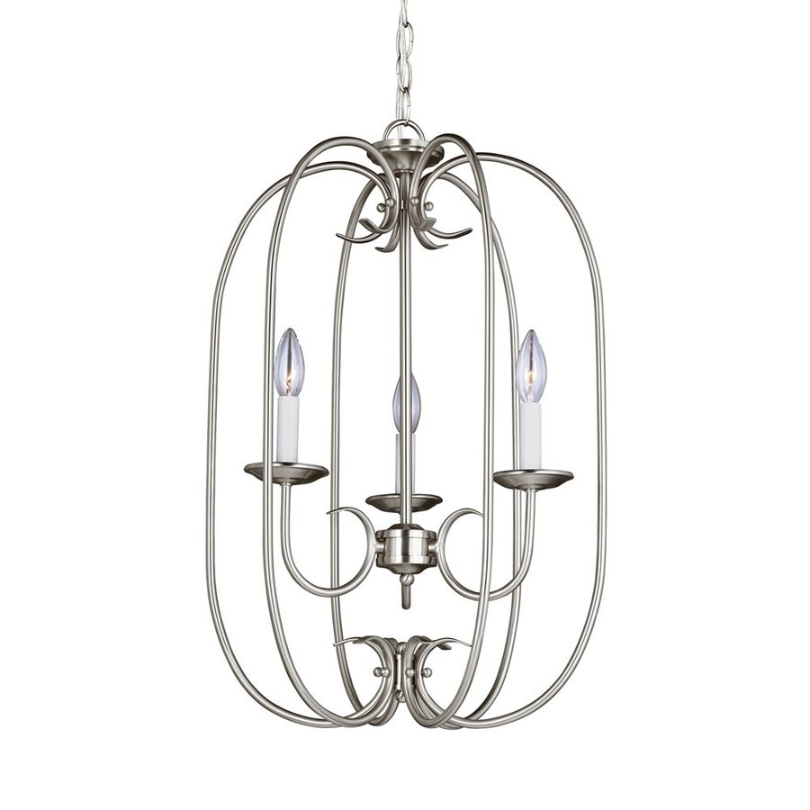Sea Gull Lighting Holman 16.25-in 3-Light Brushed Nickel Vintage Cage Chandelier