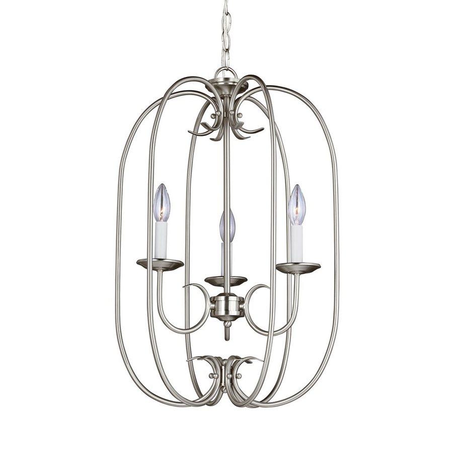 Sea Gull Lighting Holman 16.25-in 3-Light Brushed nickel Vintage Cage Chandelier