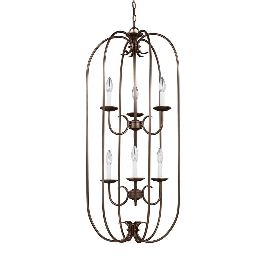 Sea Gull Lighting Holman 18-in 6-Light Bell metal bronze Vintage Cage Chandelier