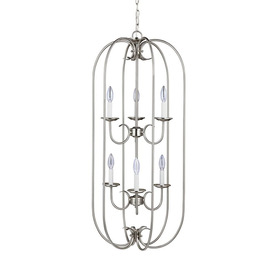 Sea Gull Lighting Holman 18-in 6-Light Brushed Nickel Vintage Cage Chandelier